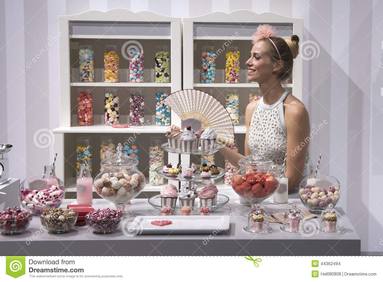 Candy Shop with beautiful Woman