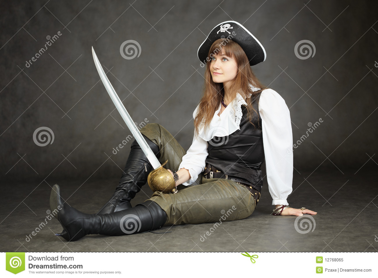 Woman - captain of pirates sitting