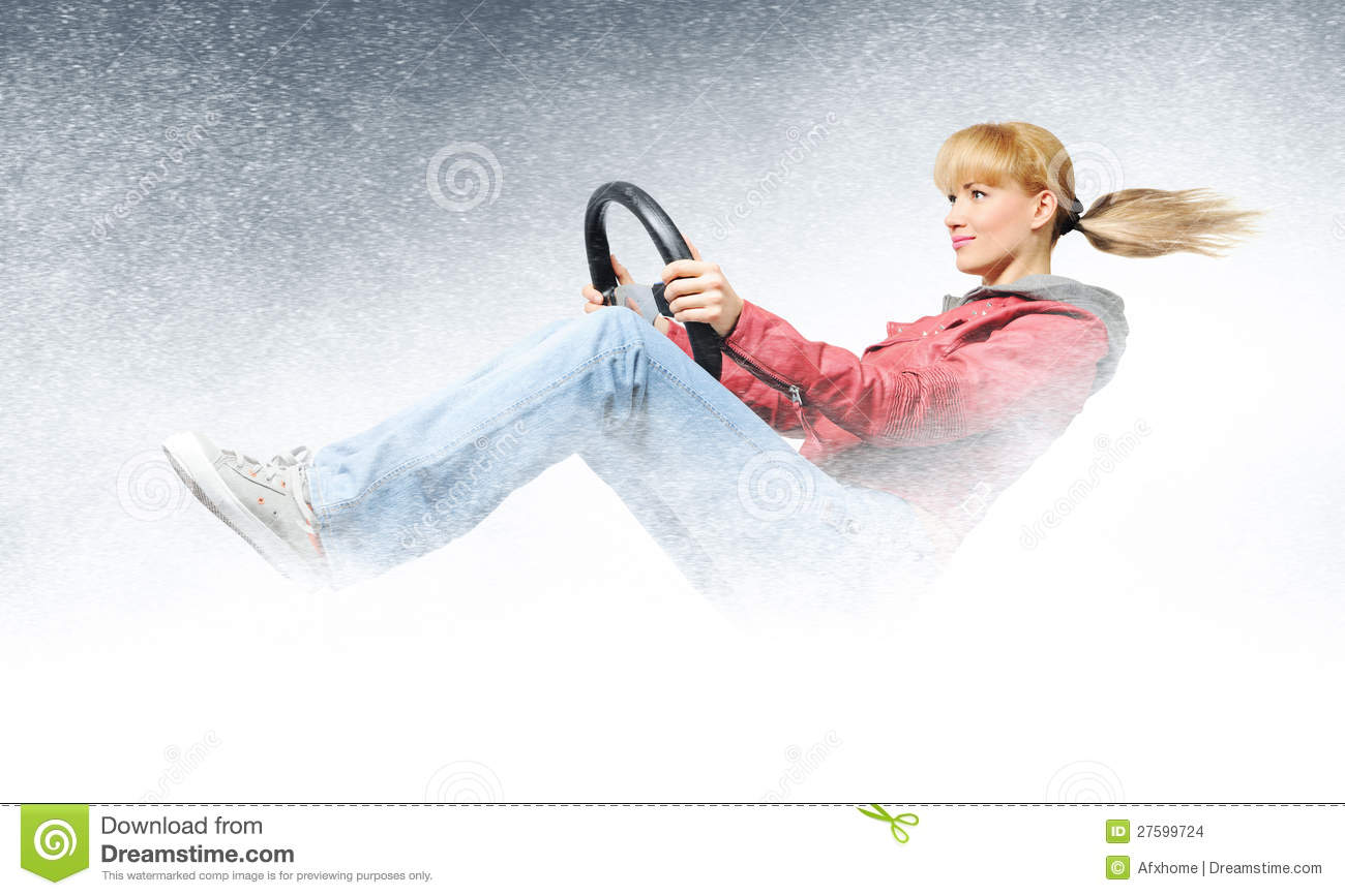Woman car driver, concept of winter driving