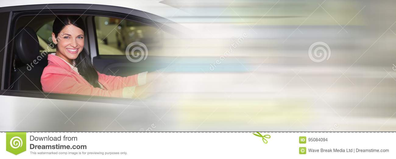 Woman In car with transition