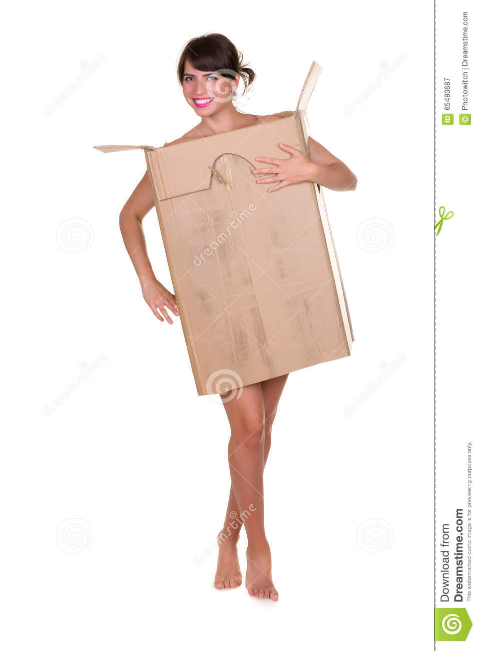 Woman In Cardboard Box Stock Image Image Of Ecology