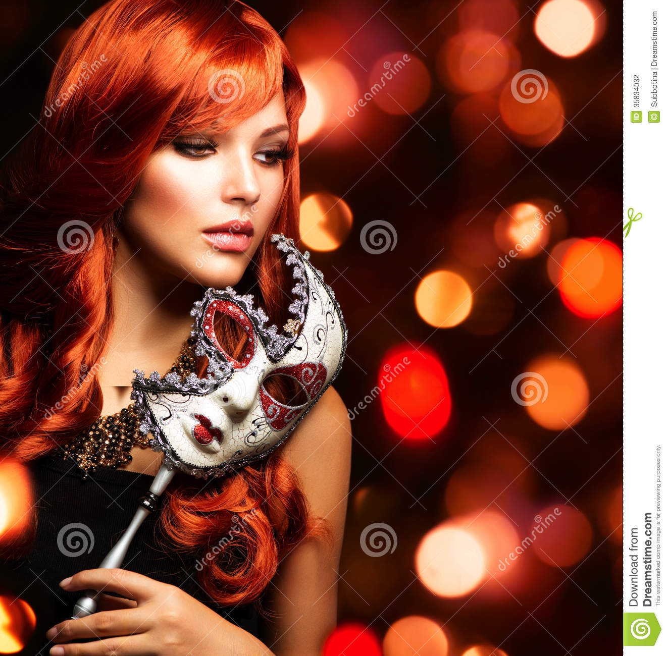 Woman With The Carnival Mask Stock Photography Image