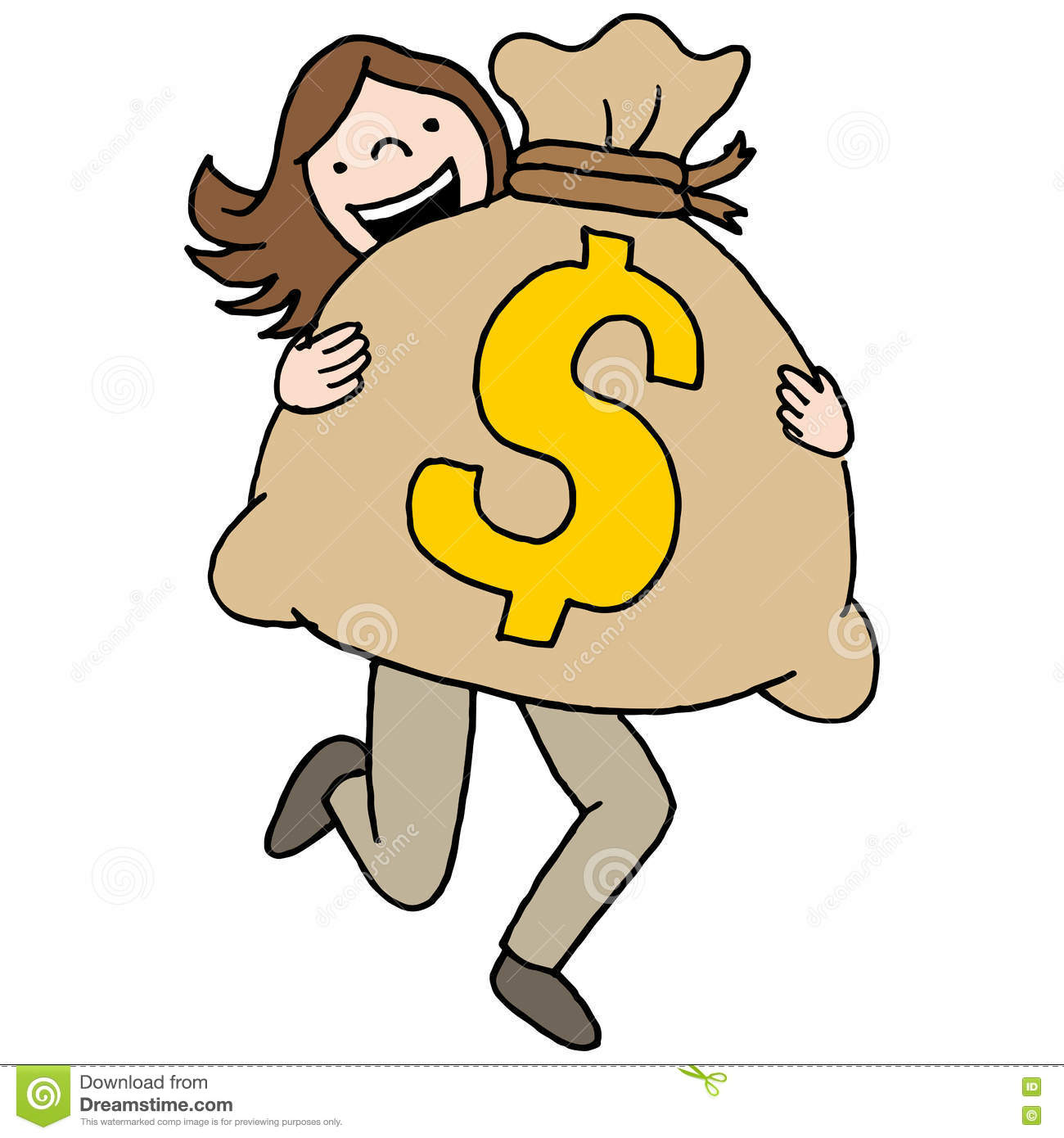 Bag With Money Sign Cartoon: Woman Carrying A Large Money Bag Stock Vector