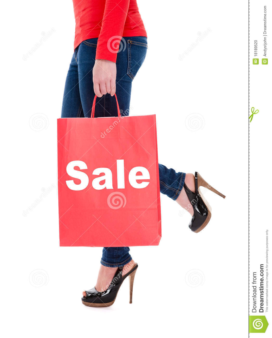 Woman Carrying Sale Shopping Bag Stock Photo - Image: 18189520