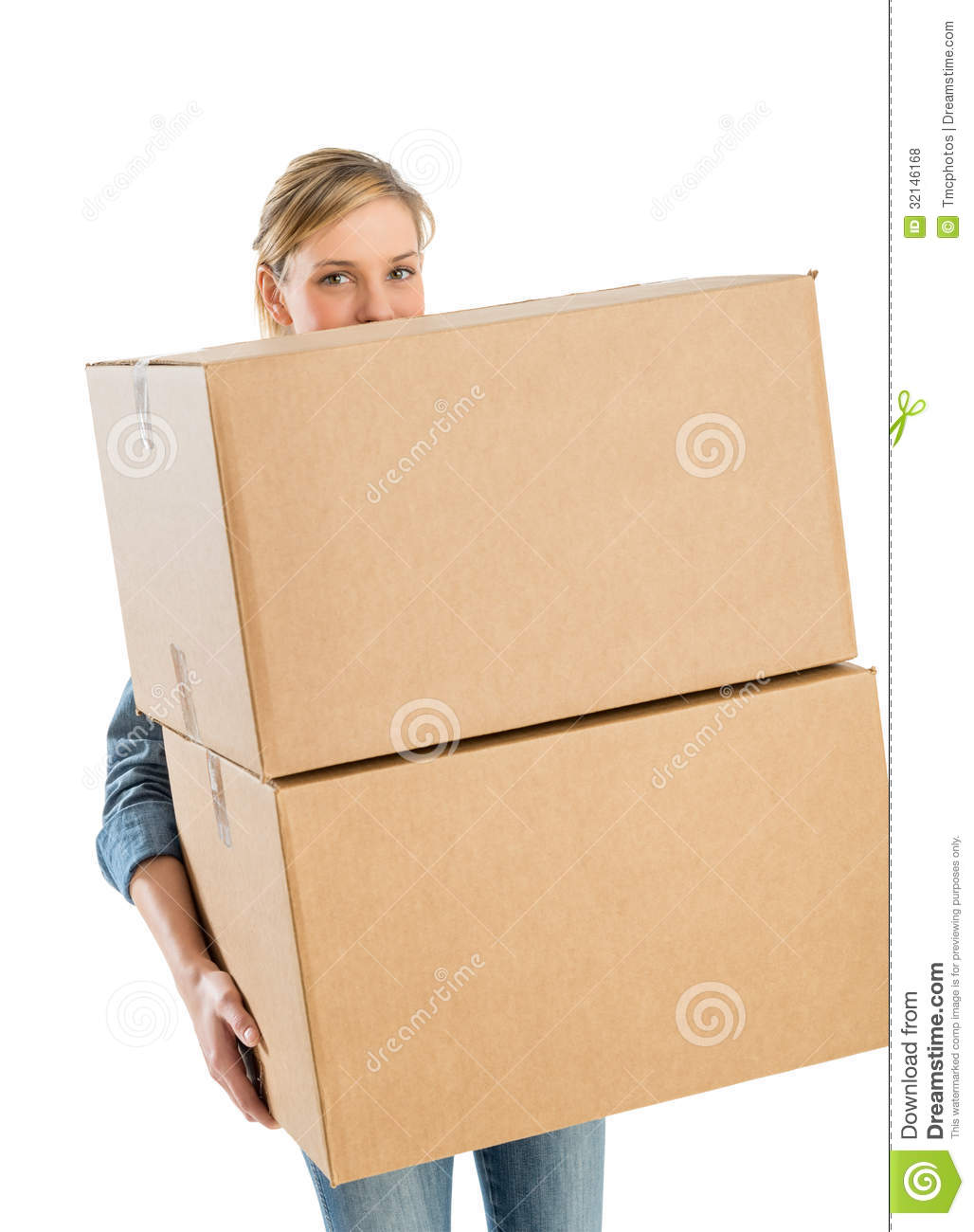 woman carrying stacked cardboard boxes stock photo image 32146168. Black Bedroom Furniture Sets. Home Design Ideas