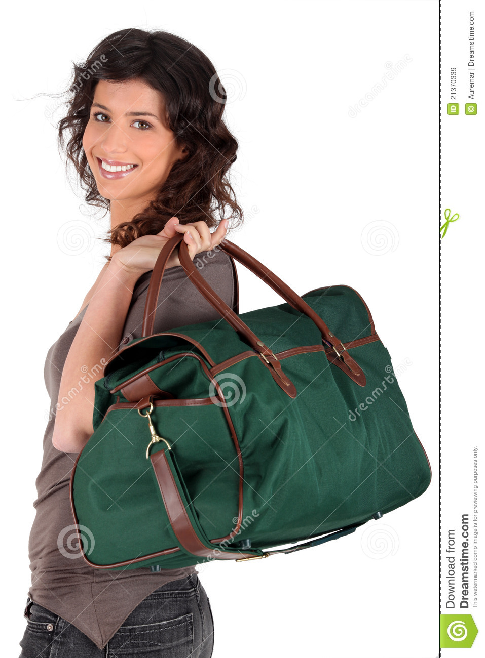 Woman Carrying A Weekend Bag Over Her Shoulder Royalty Free Stock ...