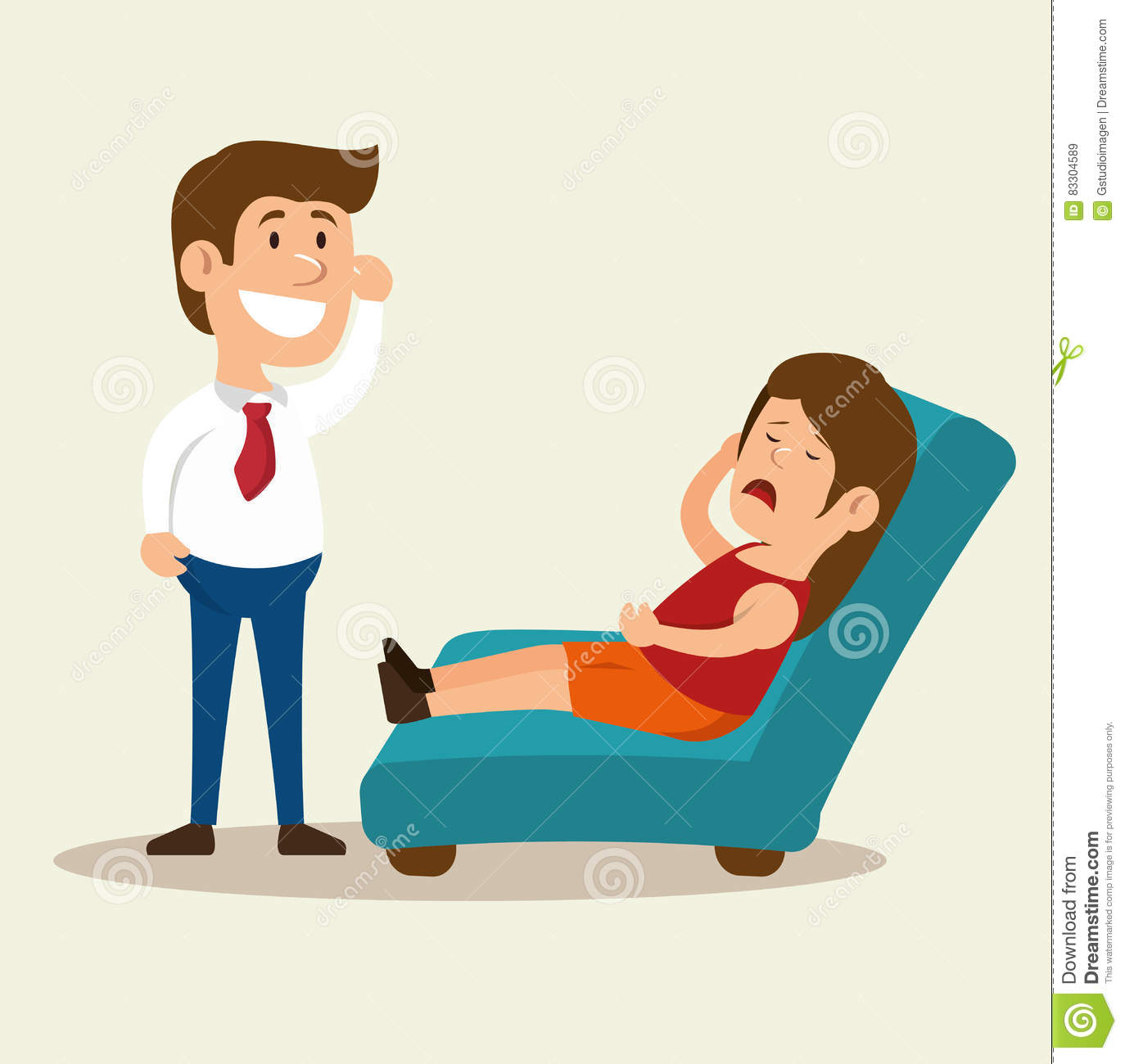 Woman Cartoon Mental Counseling Therapist Stock Illustration