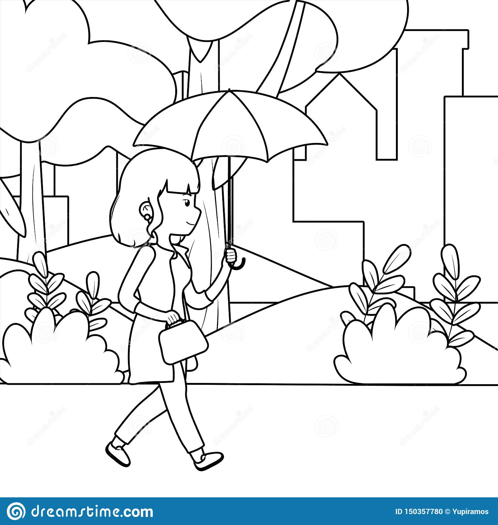 Woman cartoon in the park design