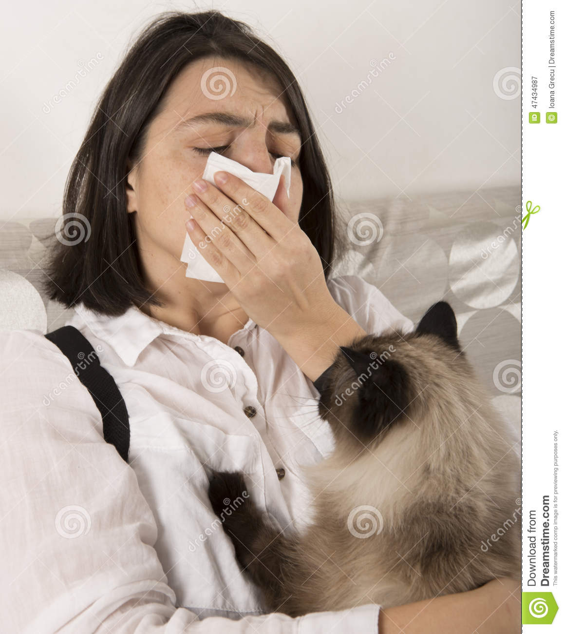 Woman With Cat Allergy Stock Image Image Of Birmanese