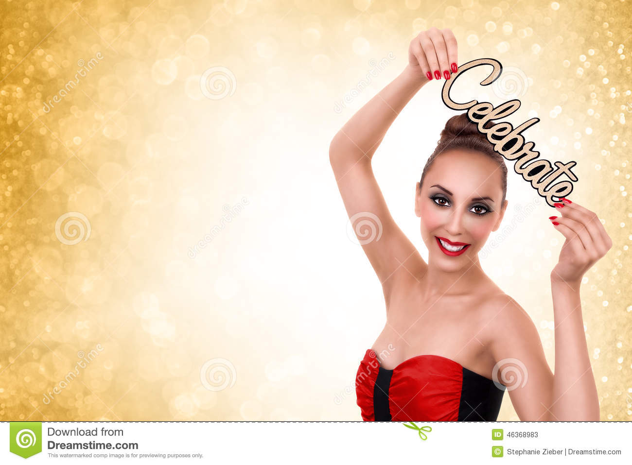 Woman Celebrate New Years or Christmas Party