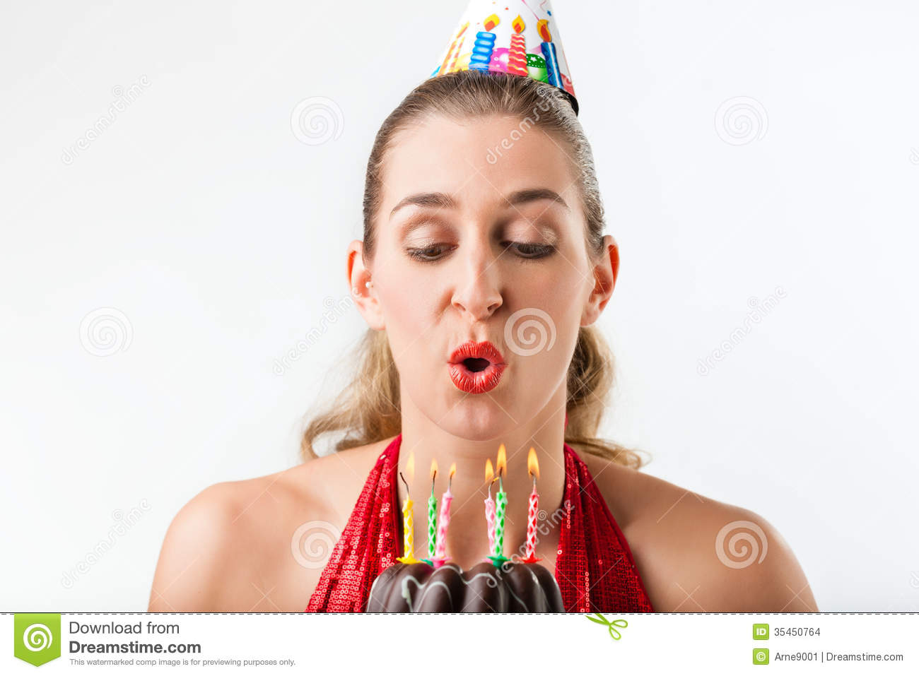 Woman Celebrating Birthday With Cake And Candles Stock