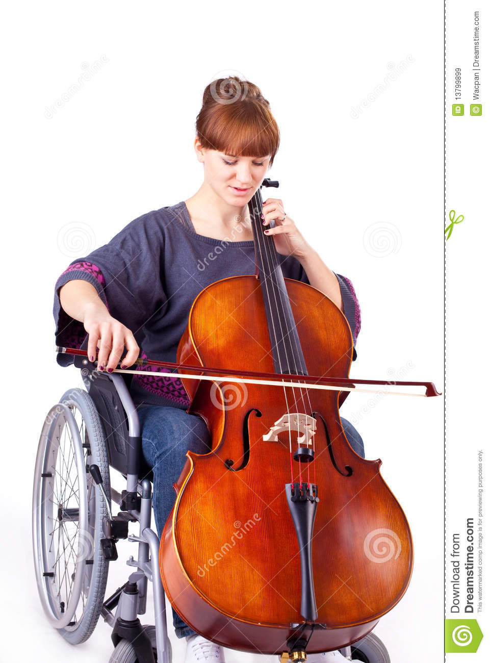 Woman with cello on wheelchair