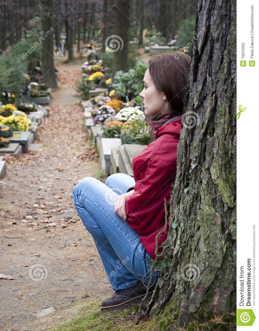 Woman at cemetery