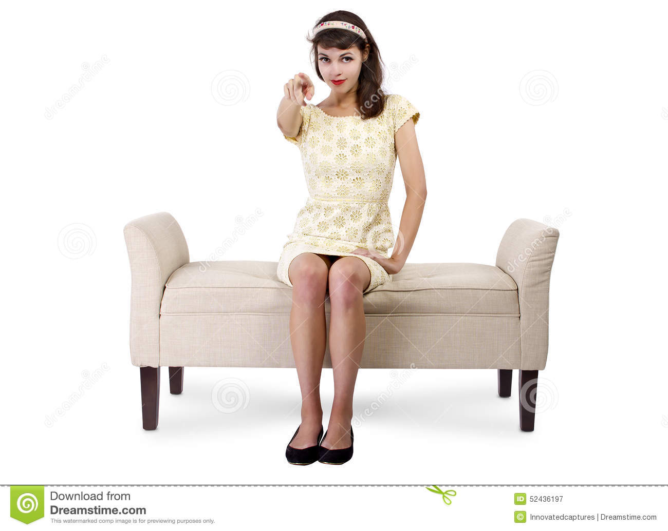 woman on chaise lounge pointing stock photo image 52436197. Black Bedroom Furniture Sets. Home Design Ideas