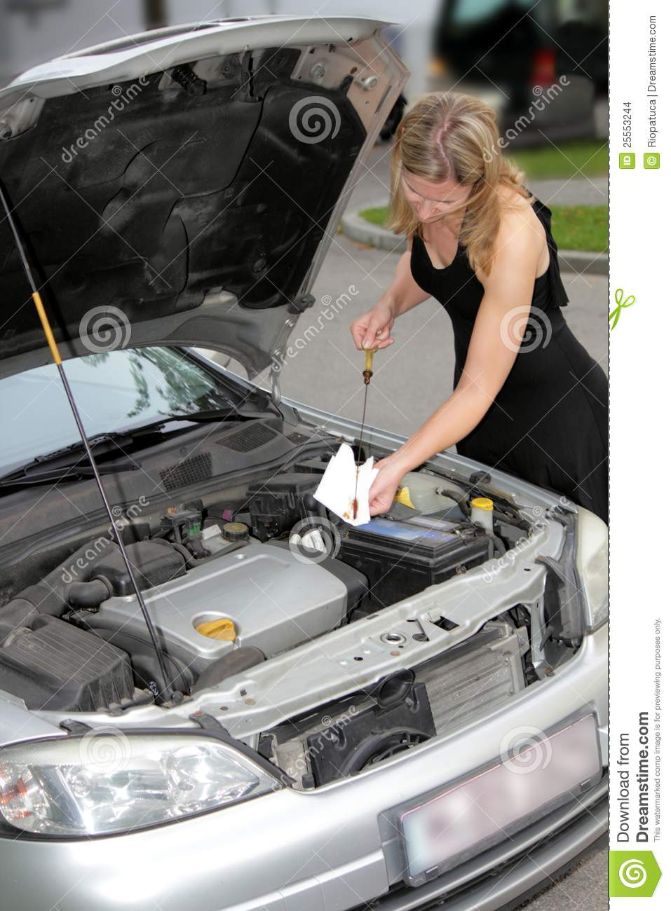Woman Checking Engine Oil Level Stock Images Image 25553244