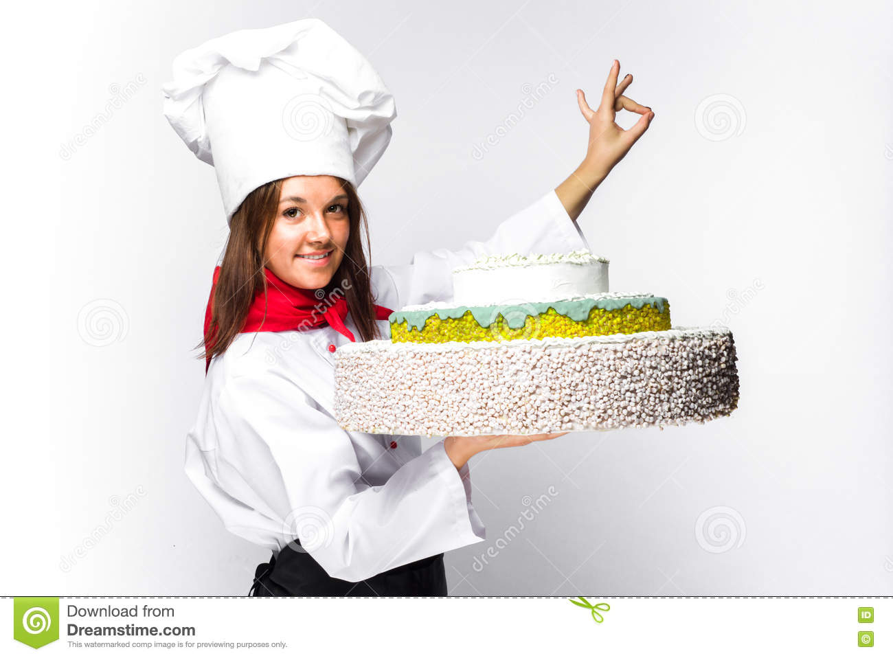 Woman Chef Holding A Cake Stock Image Image Of Cook