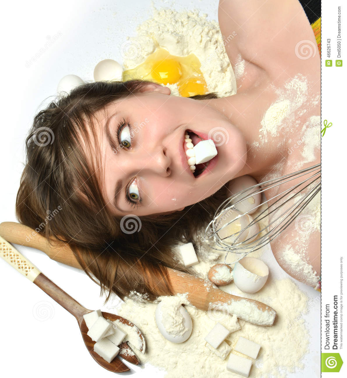 Kitchen Shears In Baking: Cooking Woman Chef Royalty-Free Stock Image