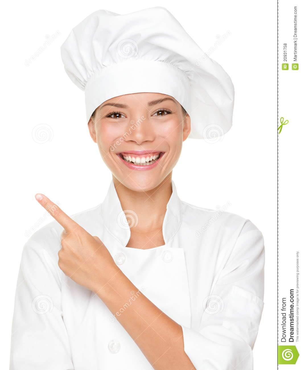 Woman chef pointing