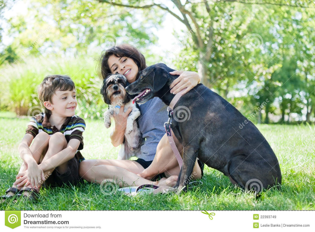 Woman and child with dogs
