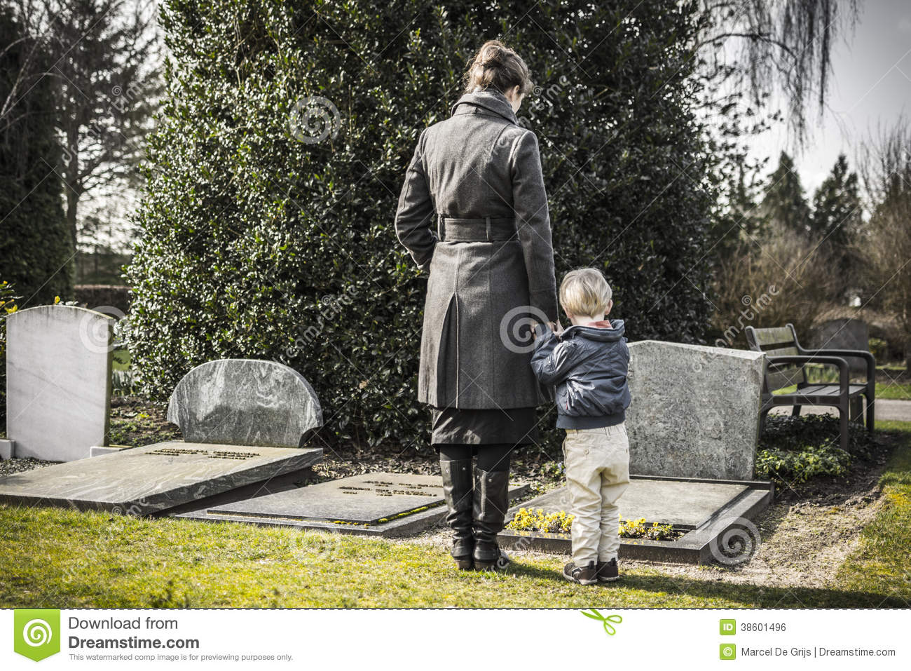 woman and child at graveyard stock photo image of died