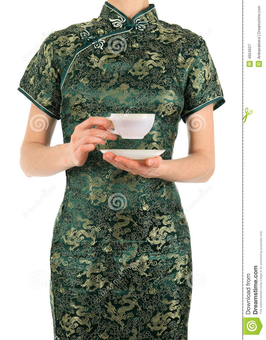 Woman in Chinese dress holding a cup of tea