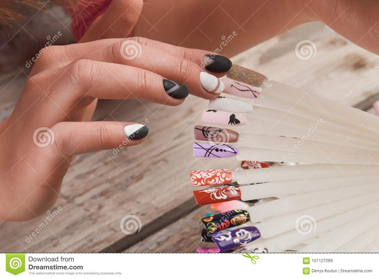 Woman Choice Of Nail Art Design Stock Image Image Of Caucasian