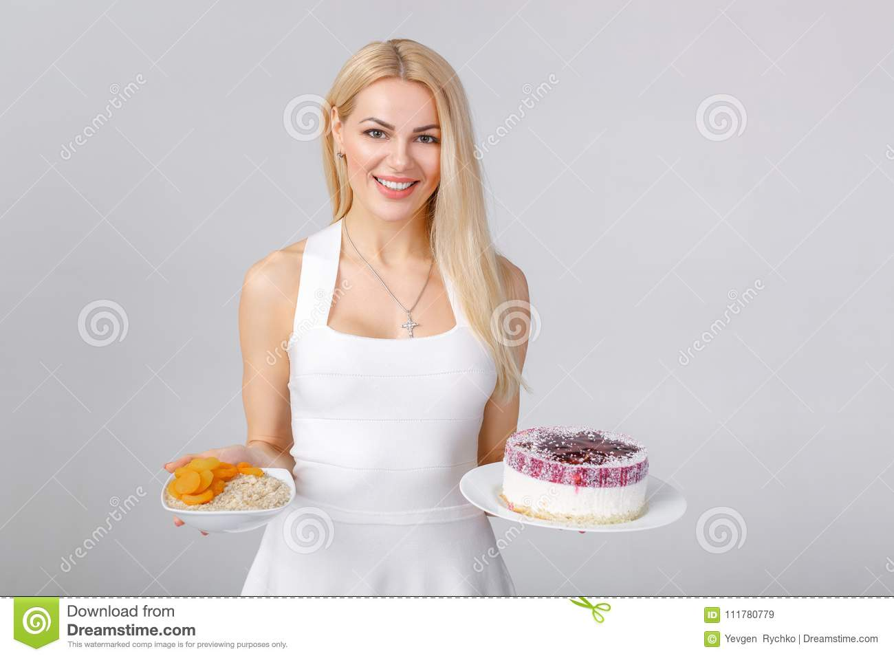 Woman chooses between cake and oatmeal