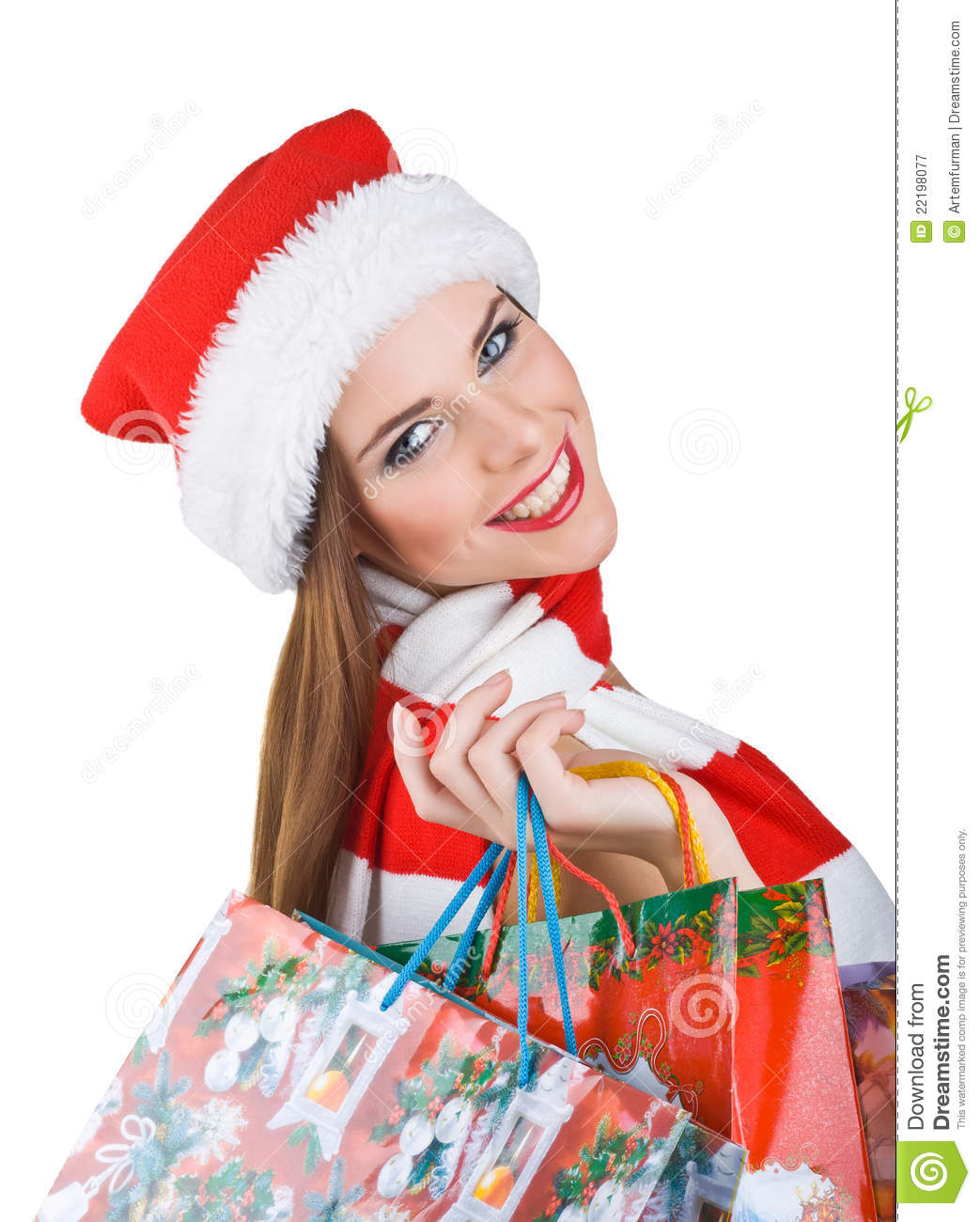 Woman In Christmas Outfit With Shopping Bags Royalty Free