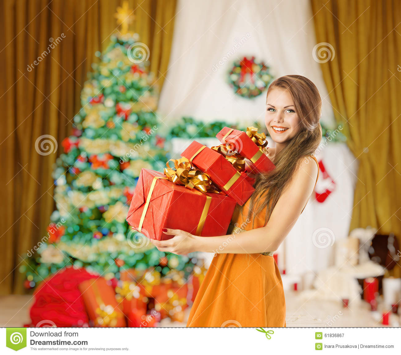 Woman Christmas Presents Gifts Boxes, Holiday Model Girl Stock Image ...