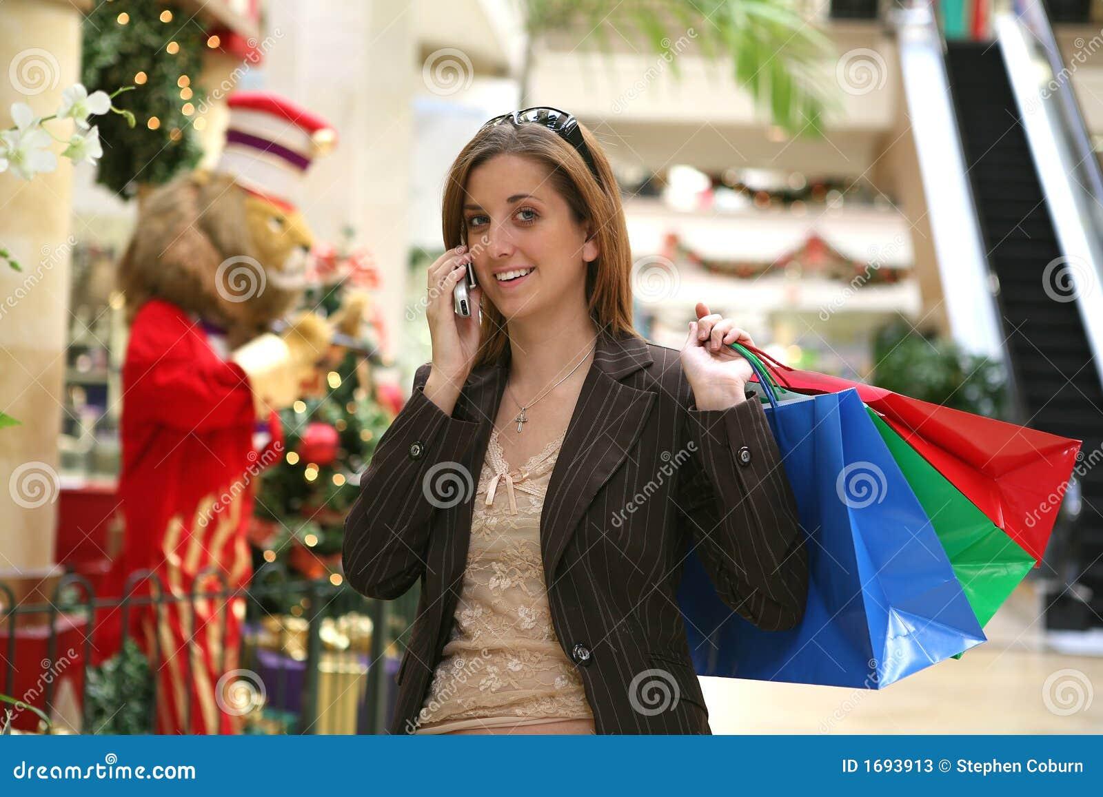 Woman Christmas Shopping Stock Photos Image 1693913