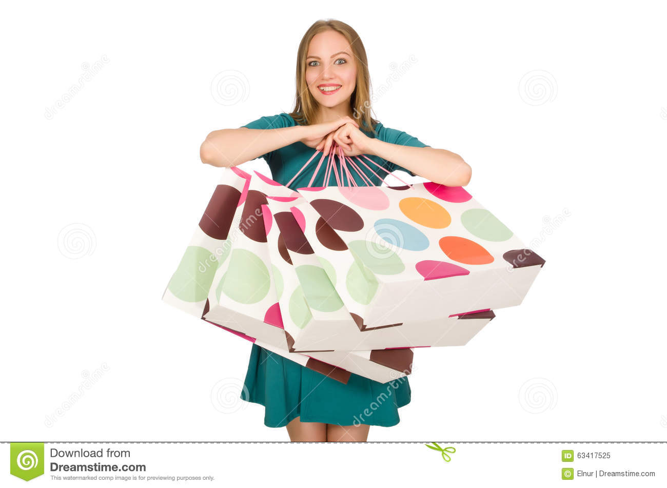 The Woman In Christmas Shopping Concept On White Stock