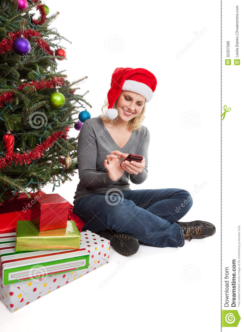 Woman Christmas Shopping Online Royalty Free Stock Photos