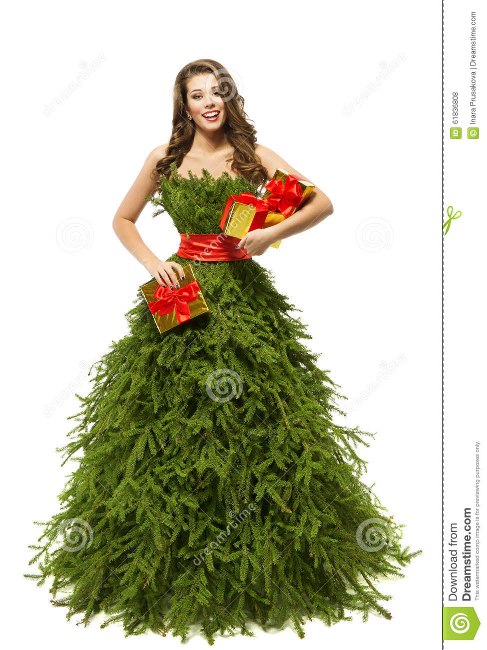 Woman christmas tree dress fashion model girl presents on