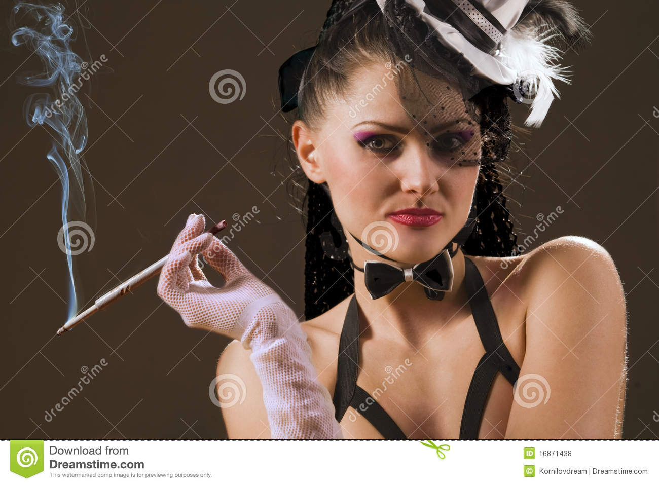 Woman with a cigarette holder