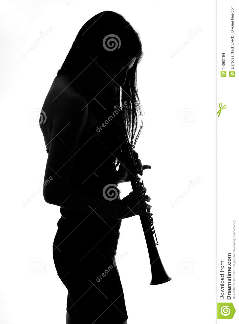 Woman With A Clarinet Shadow Stock Images Image 14062764
