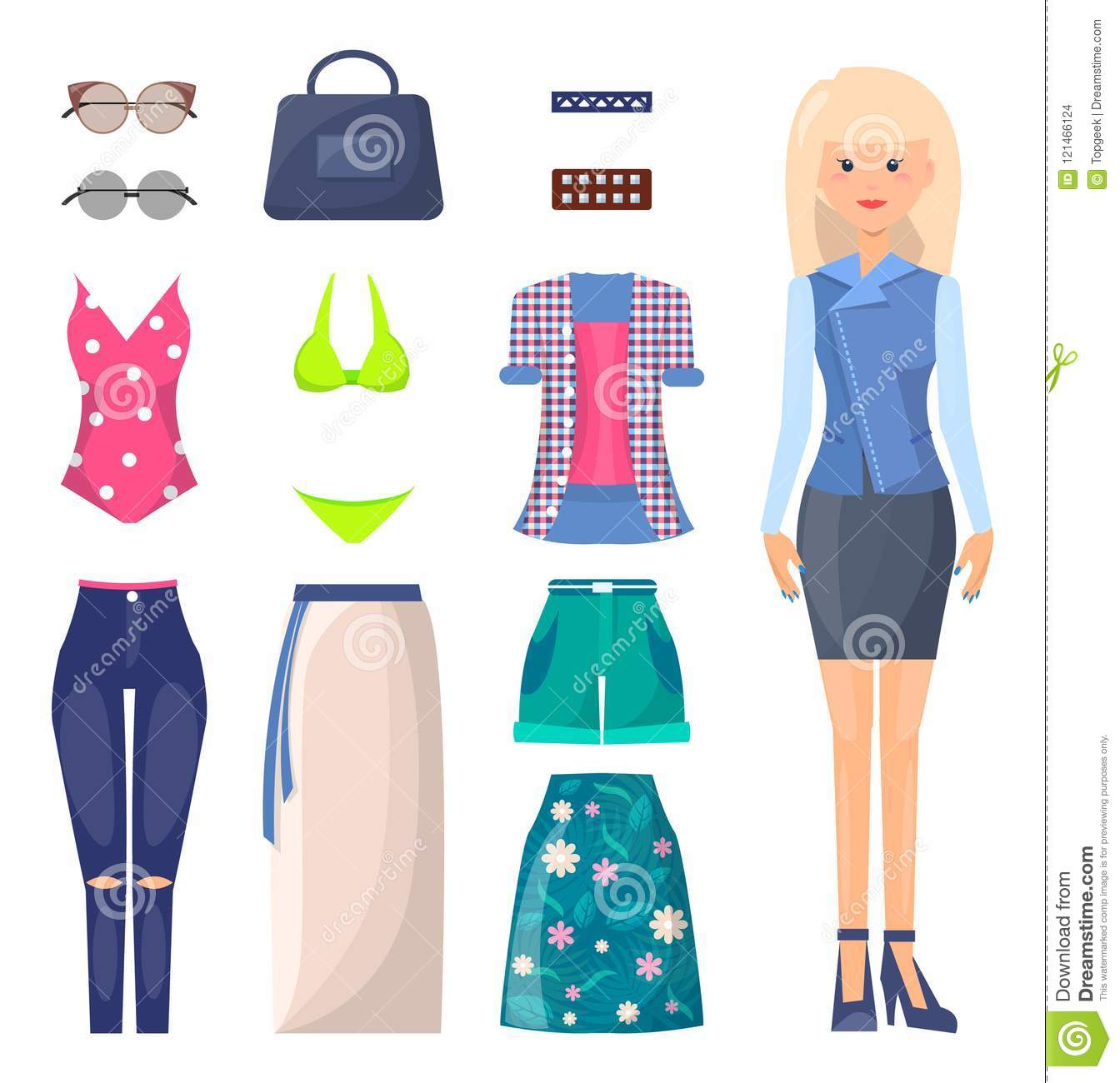 Woman In Skirt And Jacket With Summer Clothes Set Stock Vector