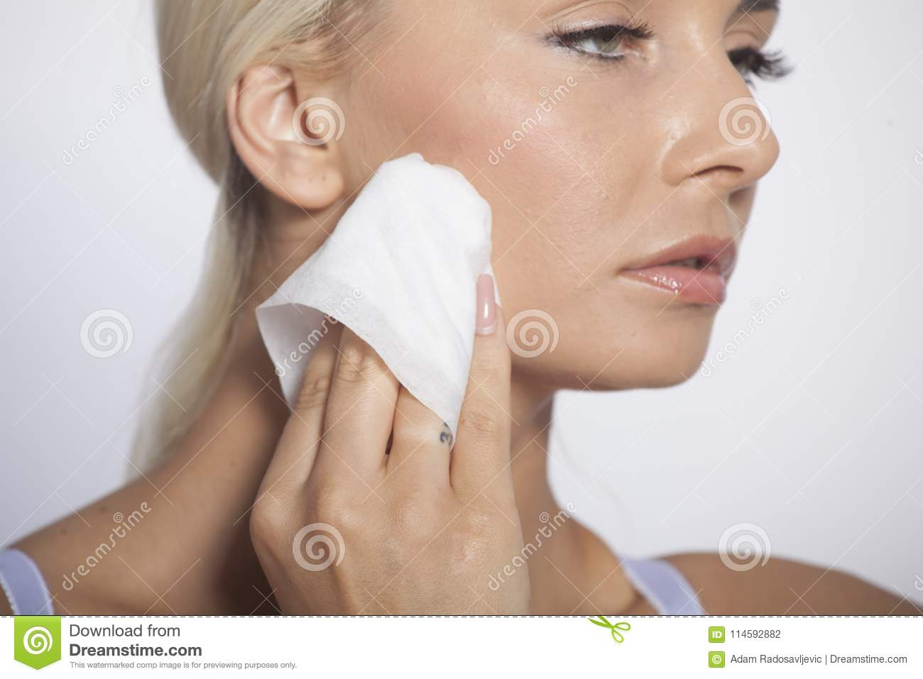 Woman Clean Face With Wet Wipes Stock Photo - Image of hygienic ... 0917824e8