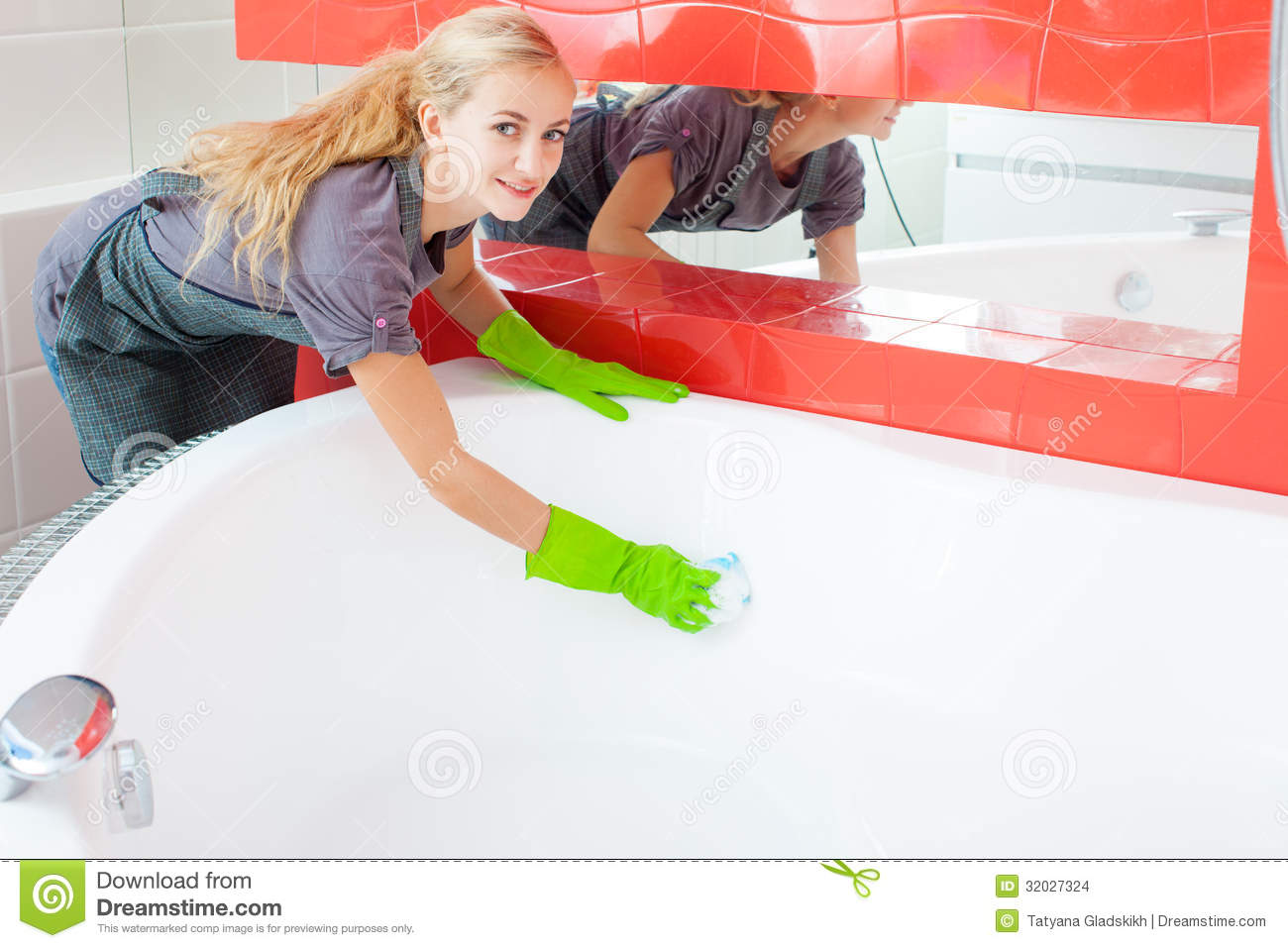 Woman Cleaning Bath Stock Images Image 32027324