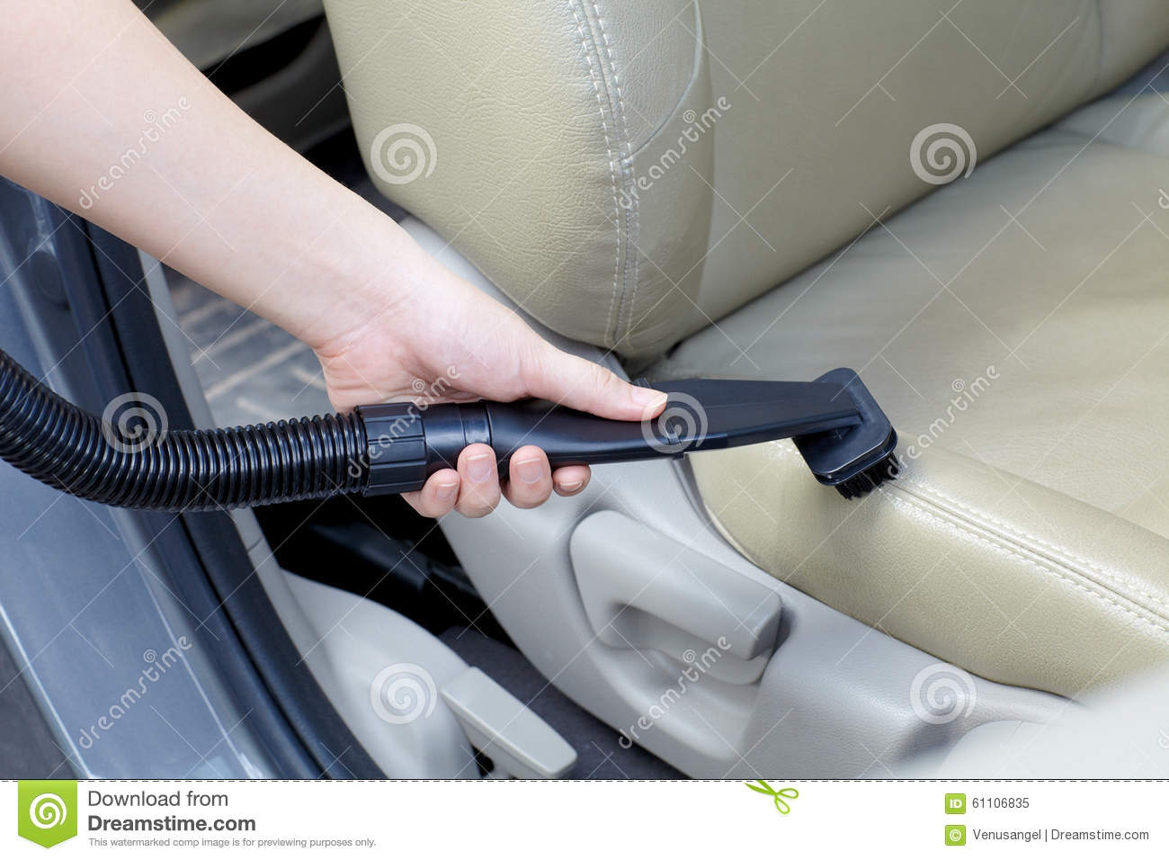 Woman Cleaning Car With Vacuum Cleaner Stock Image Image Of