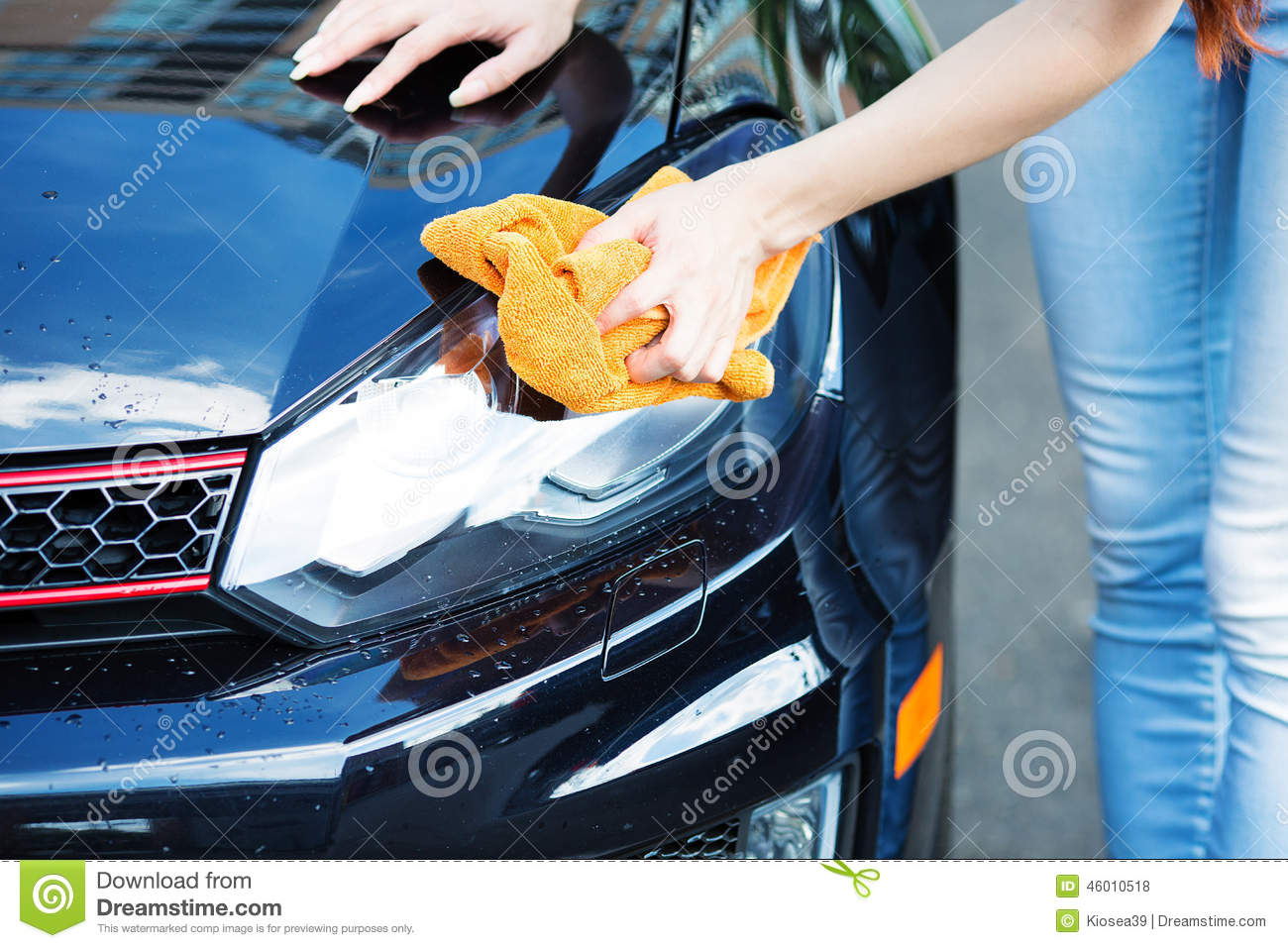Woman Cleaning Drying Car With Microfiber Cloth Stock
