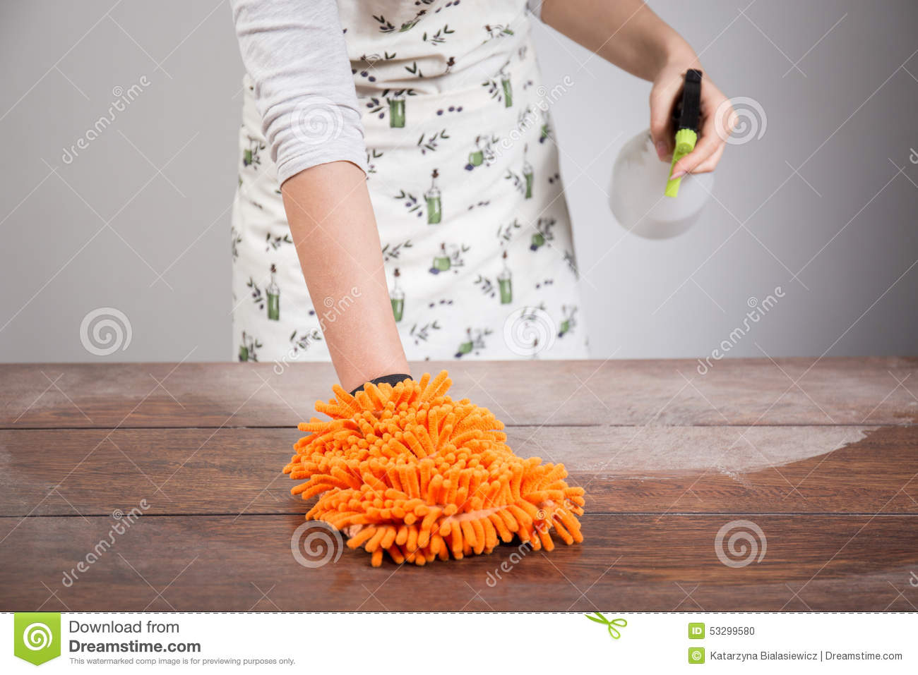 Woman Cleaning Dusty Wooden Desk Stock Photo Image: 53299580