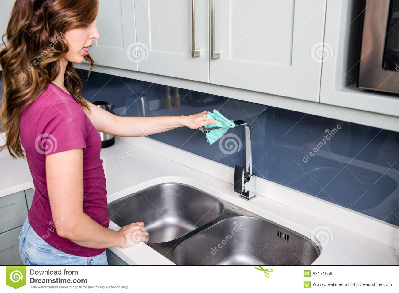 Woman Cleaning Faucet At Kitchen Sink Stock Image Image Of Brown