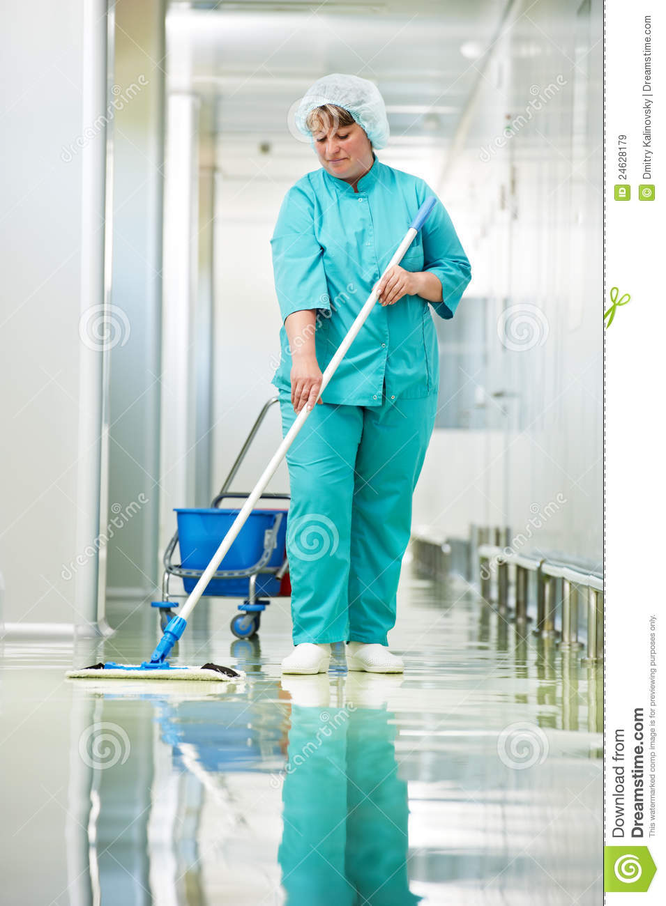 Woman Cleaning Hospital Hall Stock Image