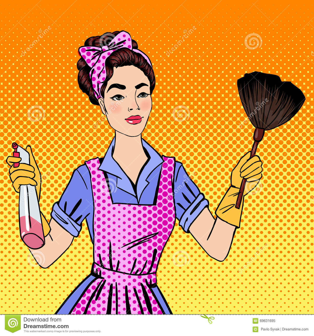 Cleaning The House woman cleaning the house. girl doing house work stock vector