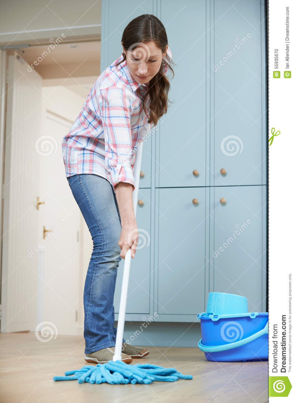 Kitchen Floor Mop Woman Cleaning Kitchen Floor With Mop Stock Photo Image 55935670