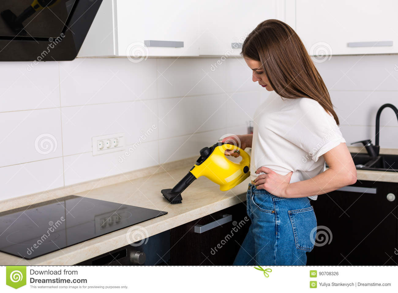 Woman Cleaning Kitchen With Steam Cleaner Stock Photo - Image of ...
