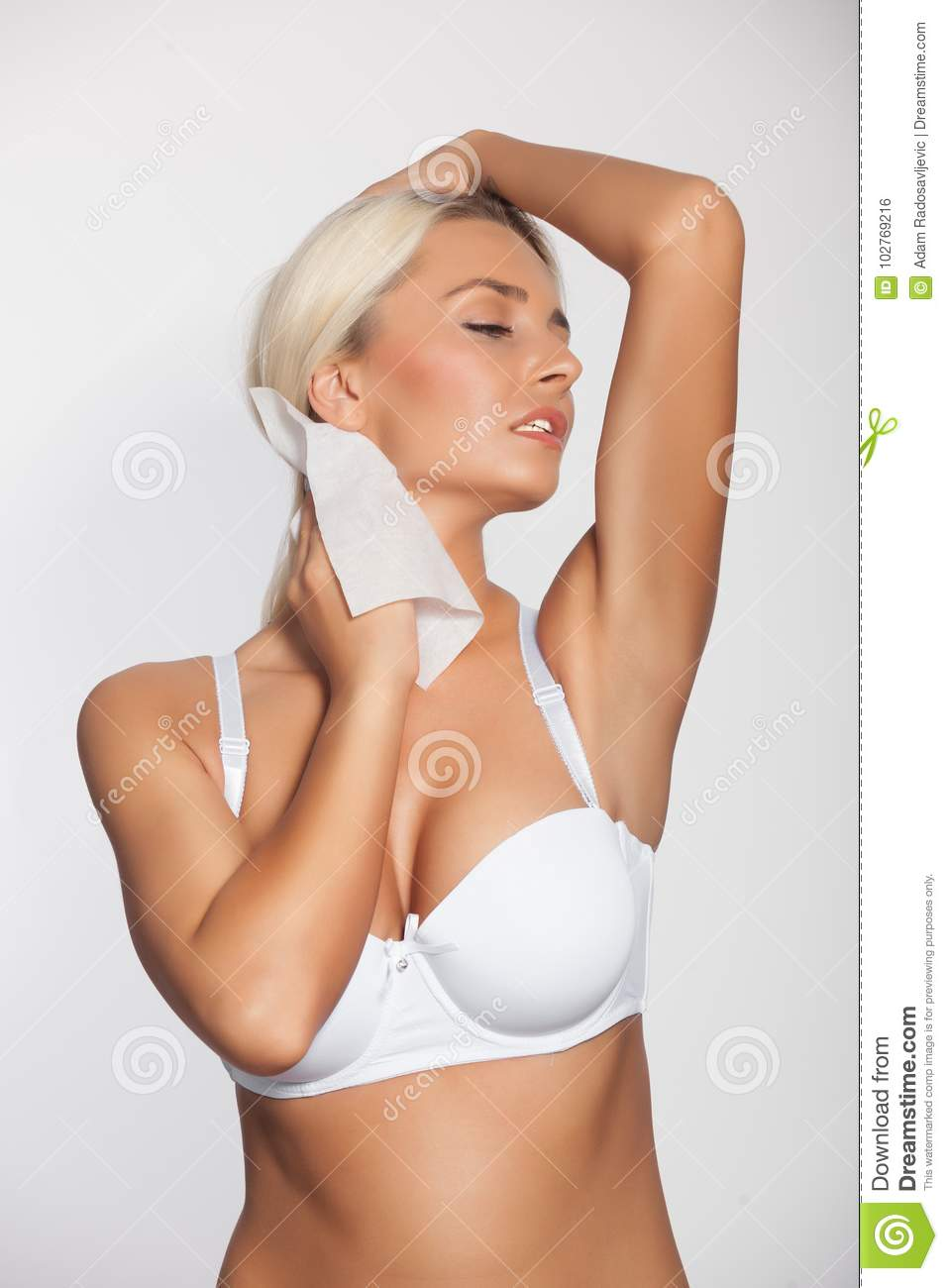 Woman Cleaning Neck With Wet Wipes Stock Photo - Image of body ... 9a60495bb