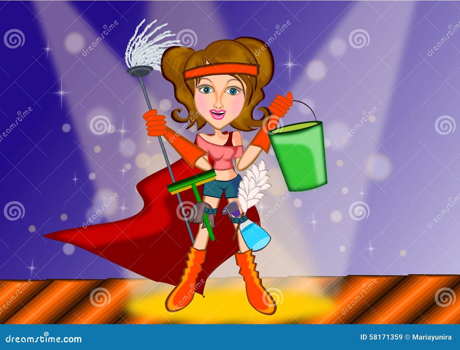 woman cleaning in superhero concept stock illustration little girl superhero clipart little girl superhero clipart