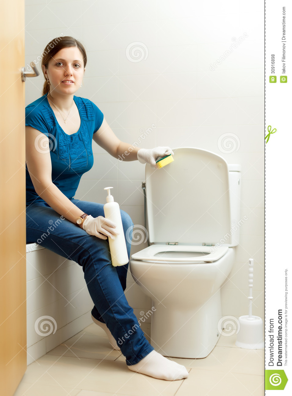 Woman Cleaning Toilet Bowl With Sponge Stock Photo Image Of - Bathroom cleaner person