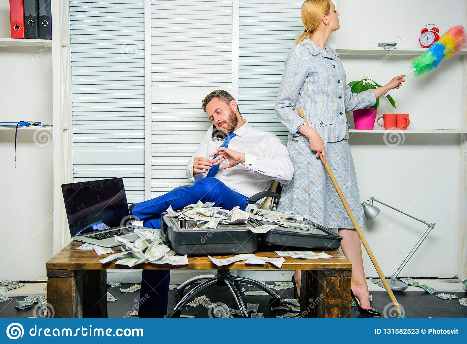 Woman cleaning up office while boss counting money. Equal rights for education work and salary. Gender discrimination in